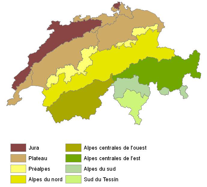 Les trois parties géologiques de Suisse avec le Jura, le Plateau et les Alpes.