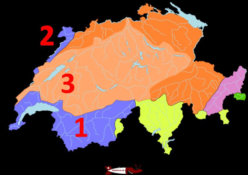 La carte des bassins hydrologiques de la Suisse.