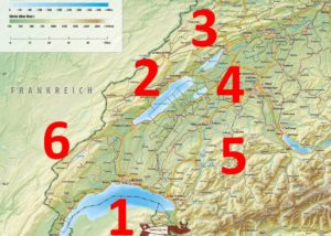 The largest lakes in French-speaking Switzerland.