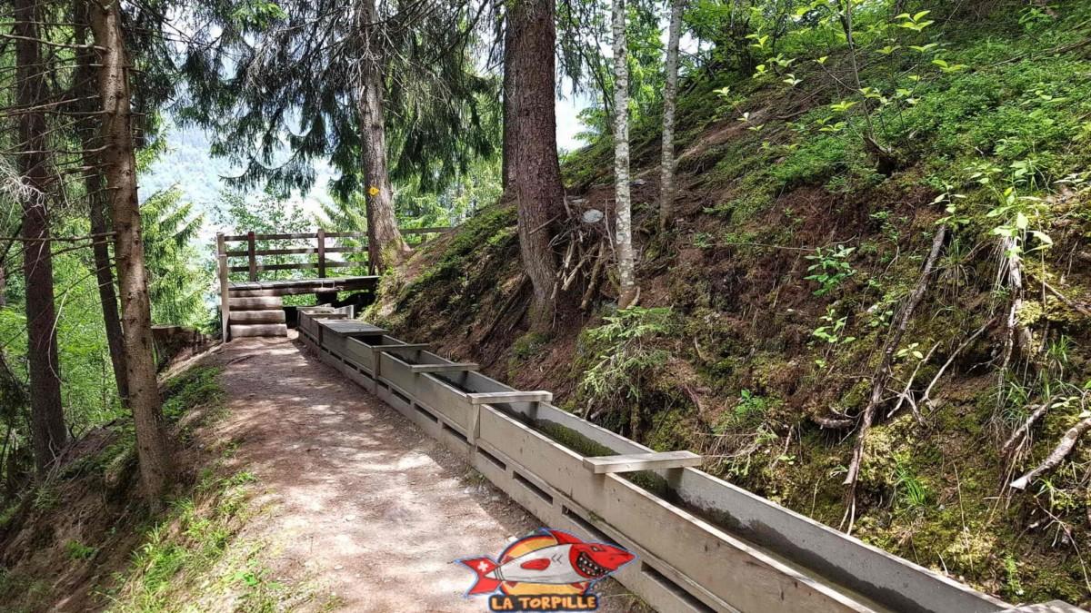 Le bisse des Ravines canalisé dans des cheneaux en bois.