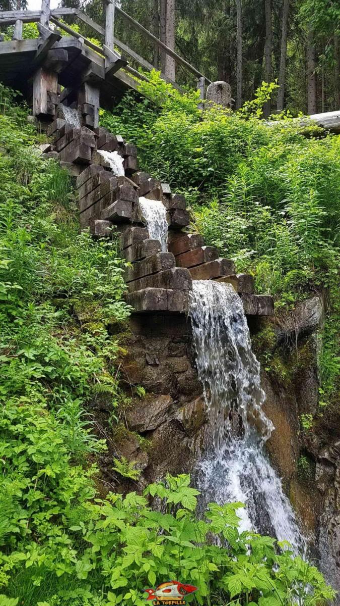 Une bisse qui marque une forte pente de manière très rare, ici le bisse des Ravines.