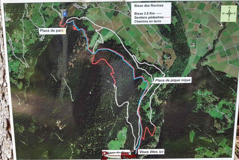 La carte du parcours affiché au début du bisse.