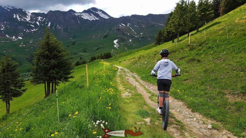 La première partie très courte du parcours relativement raide sur des petits chemins et des routes caillouteuses.
