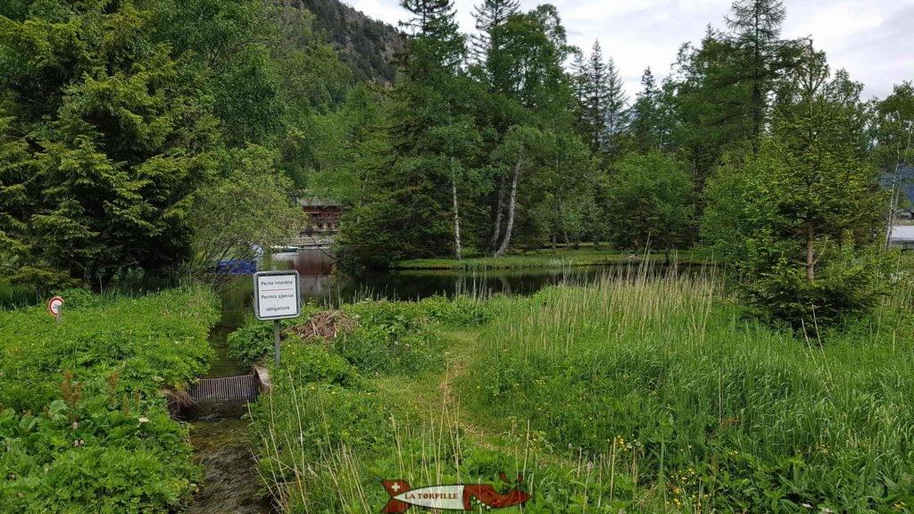 L'endroit où le bisse se jete dans le lac à l'arrivée du parcours au niveau du parking.