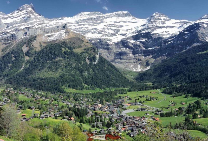 The village and the Diablerets massif.
