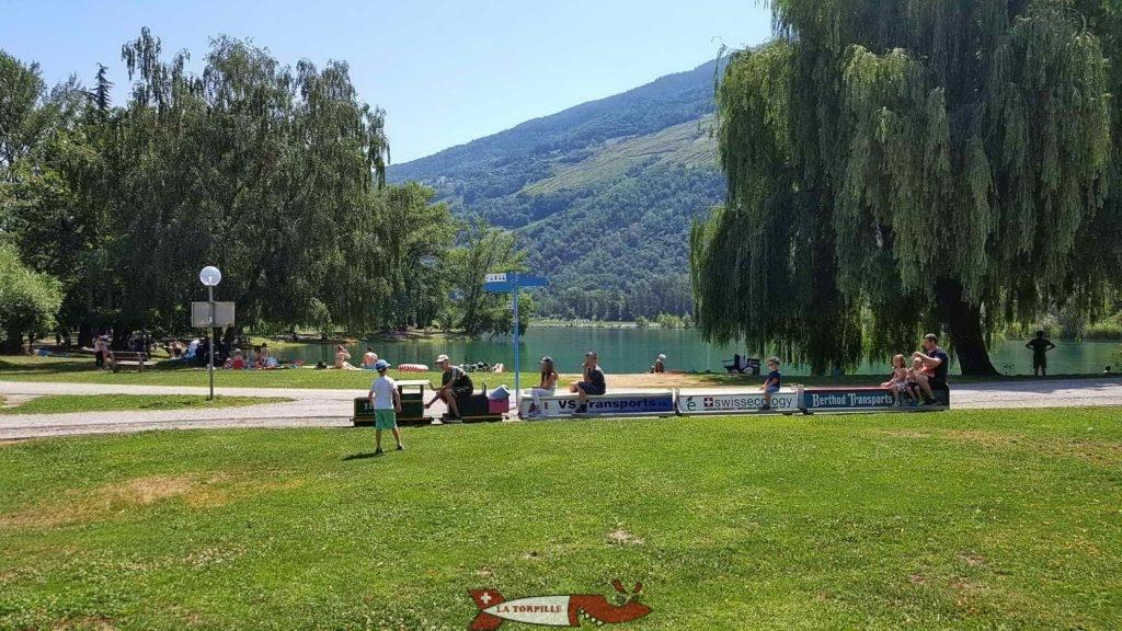 Le petit train longeant le bord du lac dans lequel se baigne des nageurs.