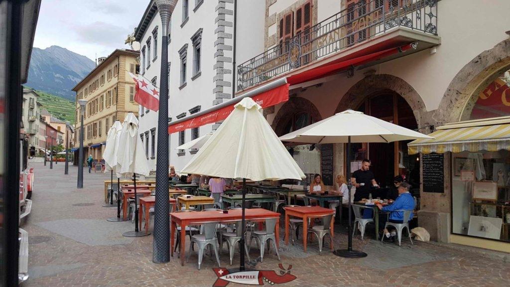 La vieille ville de Sion depuis le petit train.