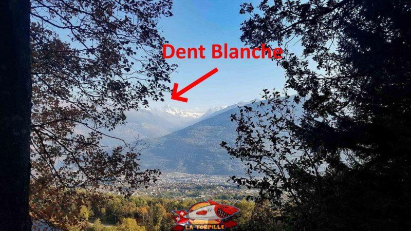 La Dent Blanche (au milieu au fond) depuis le chemin le long du bisse de Savièse.