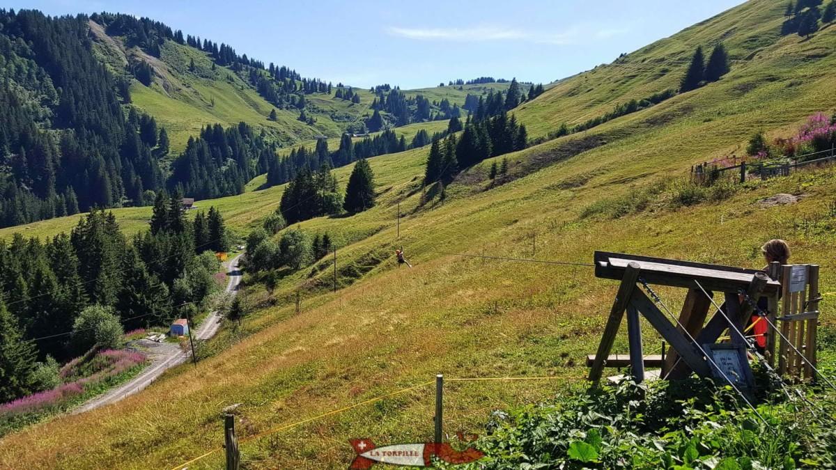 Le début du parcours des 10 tyroliennes à côté de la réception.