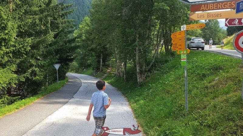 Arrivée sur la route menant à Siviez et Super Nendaz et descente par la route goudronnée en direction de Planchouet.