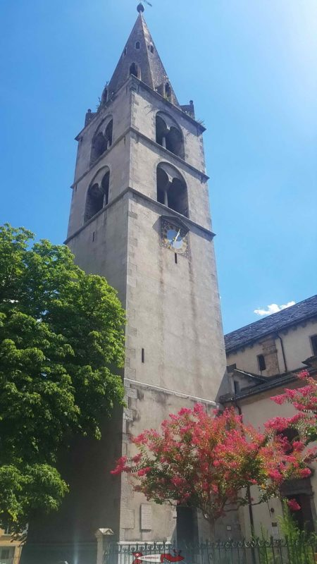 The bell tower of the church of Notre Dame de la Visitation.