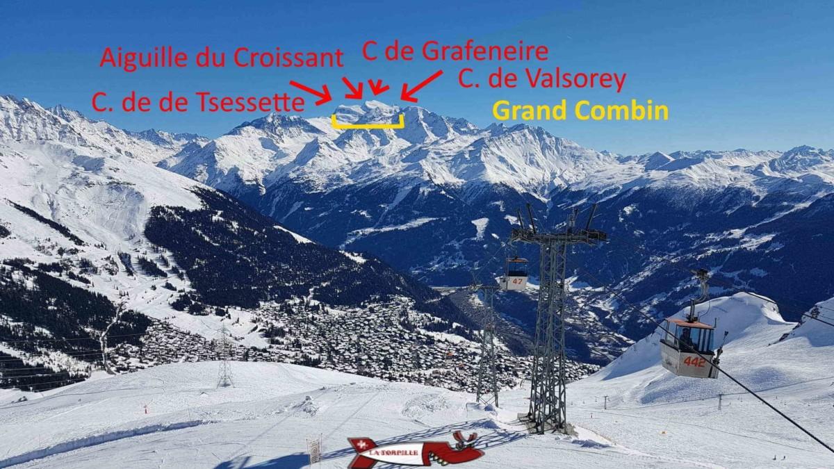 Vue depuis le sommet de Savoleyre entre la Tzoumaz et Verbier visible en contrebas. Les quatre sommets du Grand Combin sont bien visibles.
