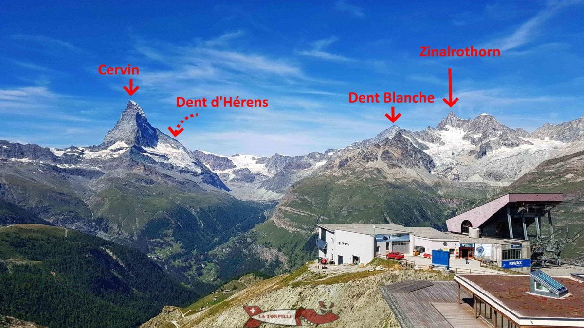Zermatt Dent d'Hérens Cervin Dent Blanche Zinalrothorn