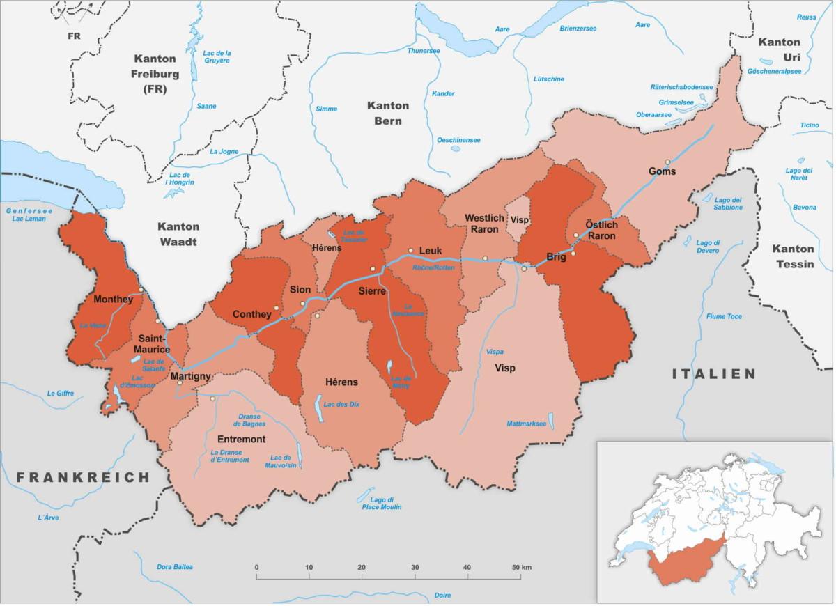 Les districts du canton du Valais.