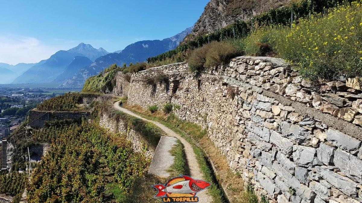 Le chemin au bord de murs en pierres sèches.
