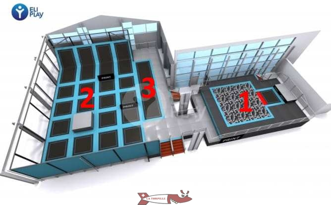 3D view of the trampoline area.