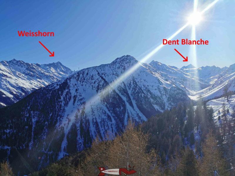 Le Weisshorn et la Dent Blanche depuis le sommet du télécabine de Bendolla.