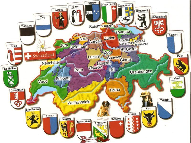 Une carte de la Suisse actuelle avec les cantons qui la compose.