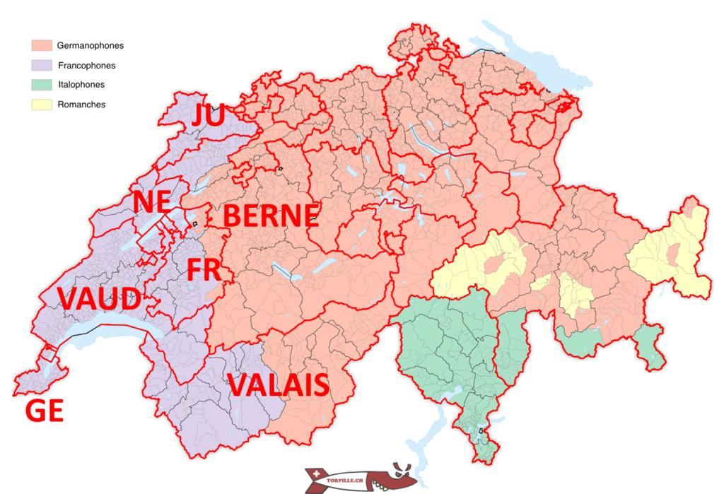 A language map of Switzerland.