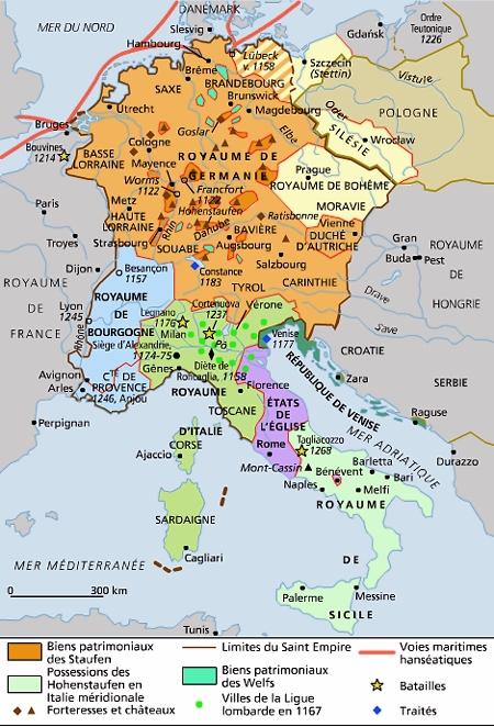 carte europe au 13e siècle