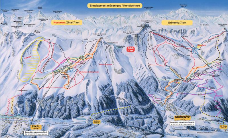 Carte du domaine skiable de Grimentz/Zinal.