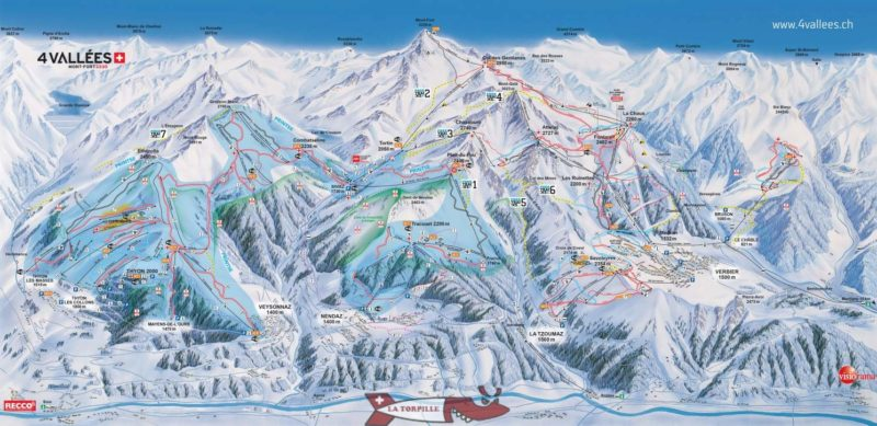 The ski area of Nendaz within the extended area of the 4 Vallées domain including Verbier.
