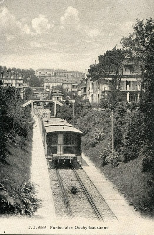 The funicular of Lausanne below the SBB train station. Photo: notrehistoire.ch