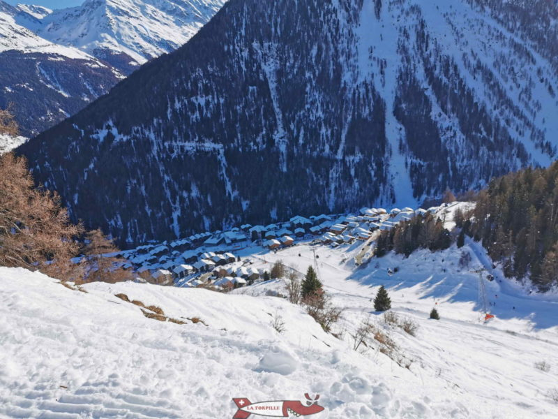 The village of Grimentz from the toboggan run.