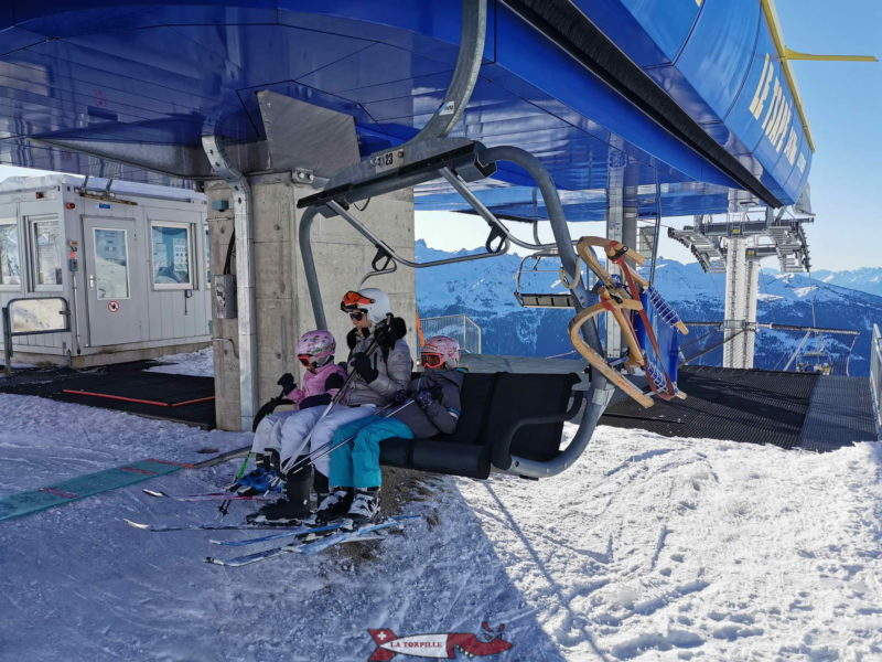 A toboggan attached to the chairlift.