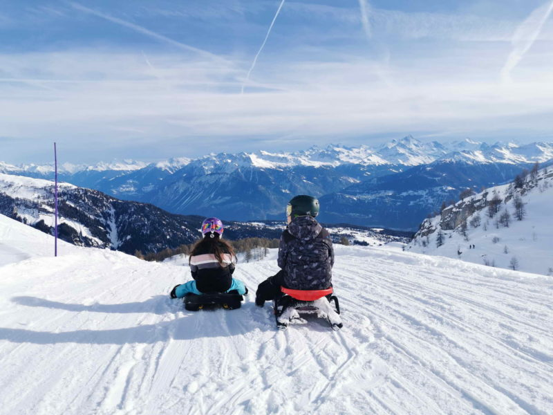 Magnificent view of the southern slopes of the Valais Alps from the top of the toboggan run.