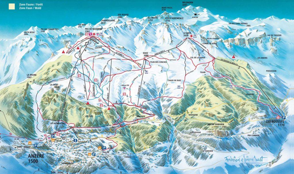 Le plan des pistes de la sation de ski de Anzère avec les Rousses sur la droite.