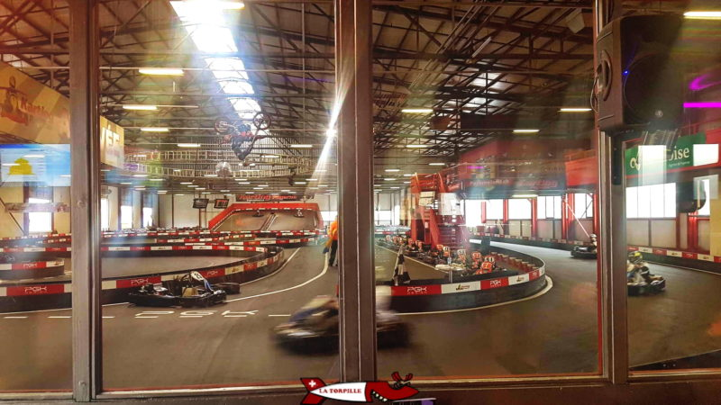 The indoor track of Payerne karting.