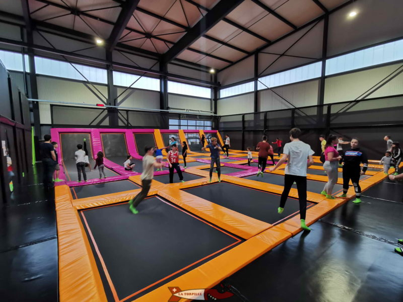 The main area of Jumpland with 26 trampolines.