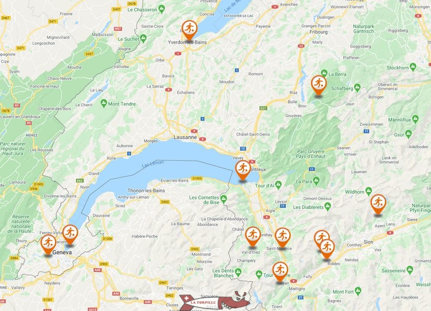 Thermal baths mapping western switzerland
