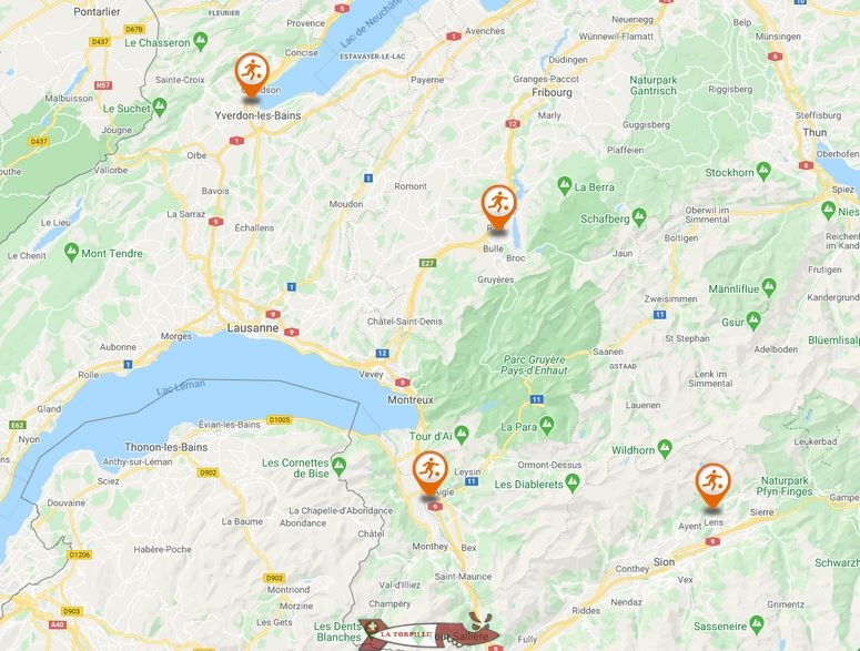 carte parcs à trampolines suisse romande