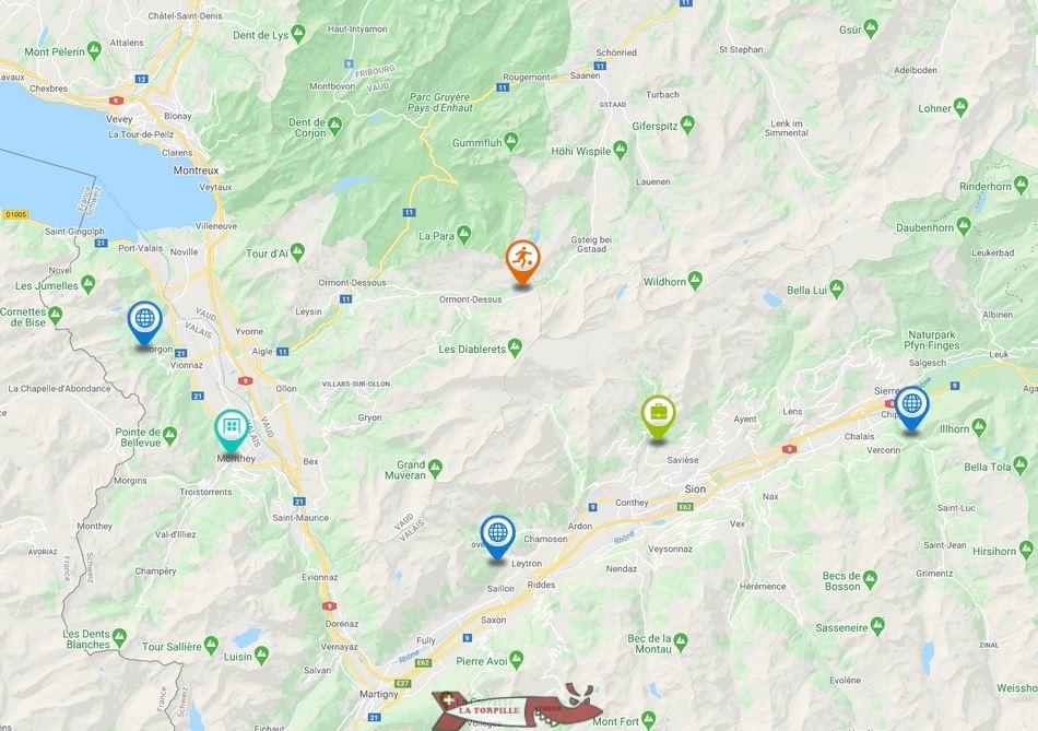 carte passerelles suspendues suisse romande