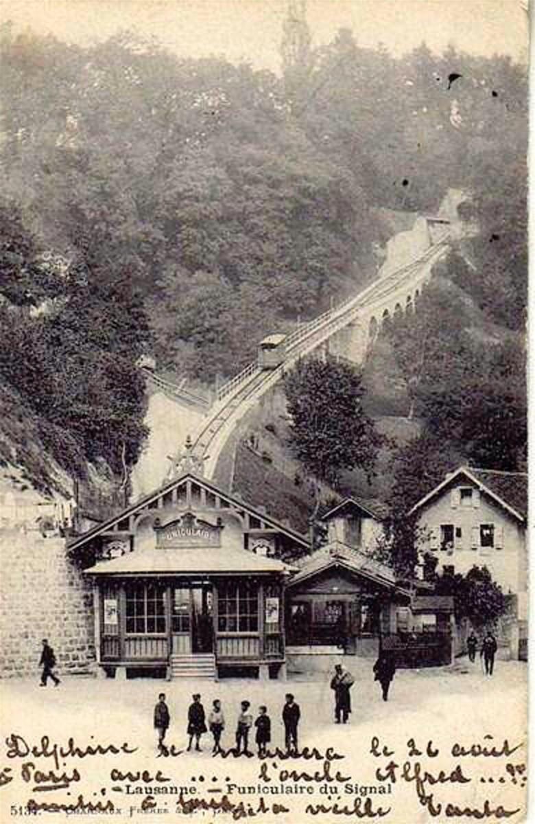 Le départ du funiculaire Lausanne-Signal de temps de son exploitation.