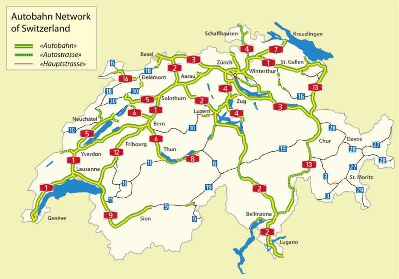 Une carte des autoroutes de Suisse.