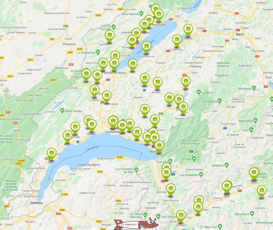 carte chateaux suisse romande