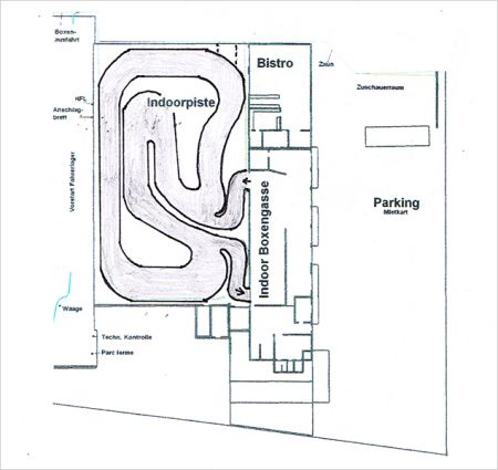 Le parcours intérieur du karting de Sulgen.