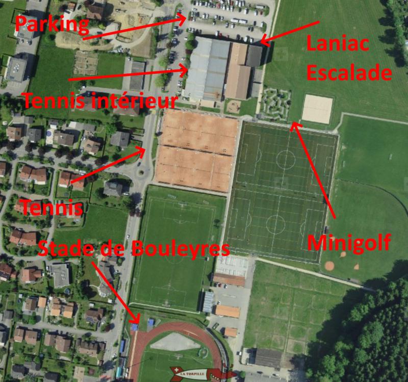 Le parcours de minigolf du centre de tennis de Bulle comporte 18 trous et se trouve à côté des courts de tennis et des terrains de foot adjacents au stade de Bouleyres.