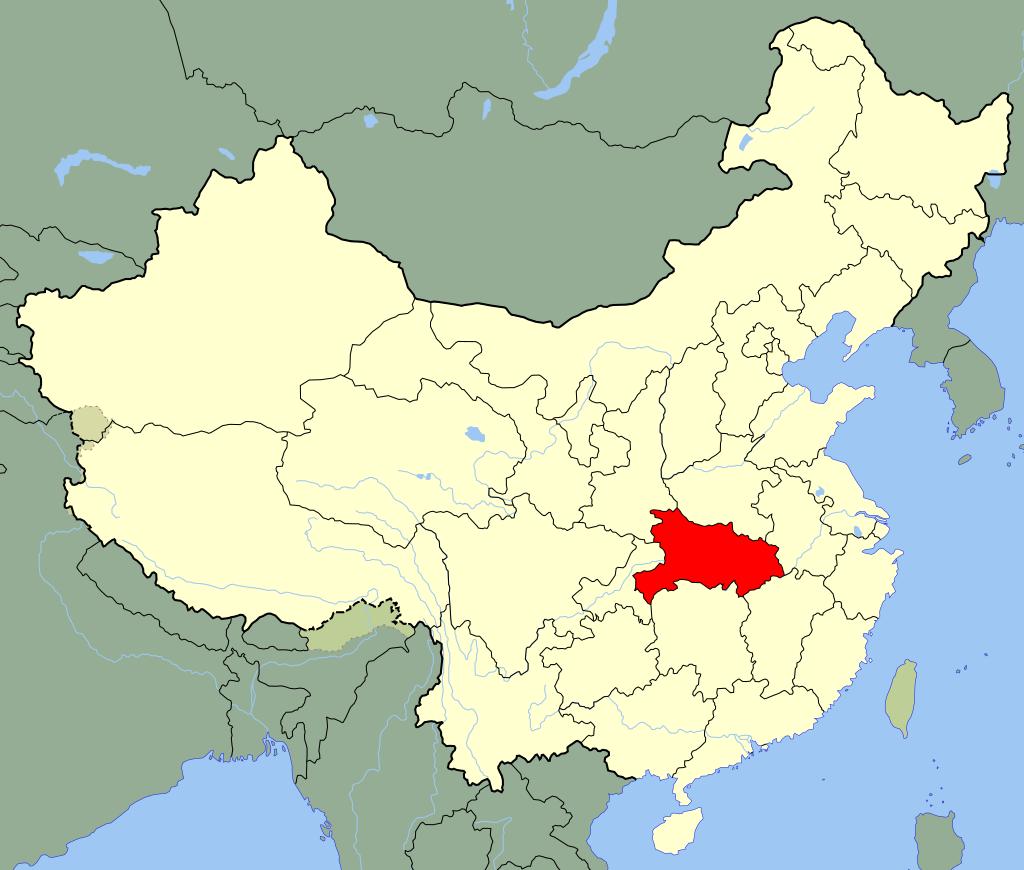 La province chinoise de Hubei en rouge sur la carte.