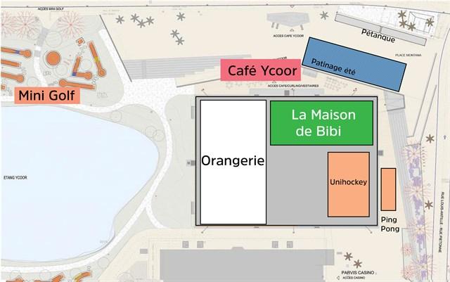 """Une vue """"2D"""" des élements du Centre Ycoor."""