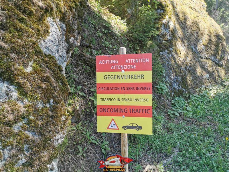 Un panneau étonnant qui, malgré l'interdiction des voitures vers le refuge du bisse, donne des indications de circulation.