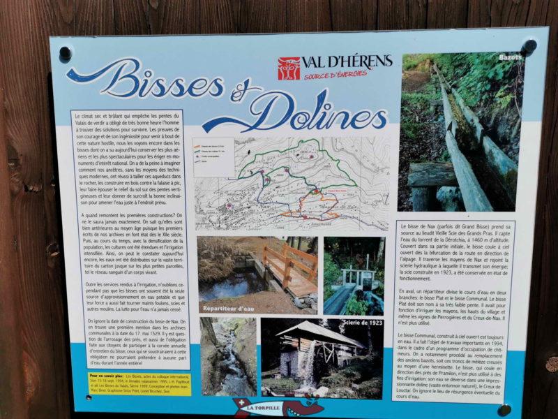 Plusieurs balades sont disponibles pour découvrir les bisses et les dolines (Dépressions circulaires) de Nax.