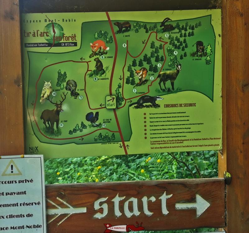 La carte du parcours de tir à l'arc.
