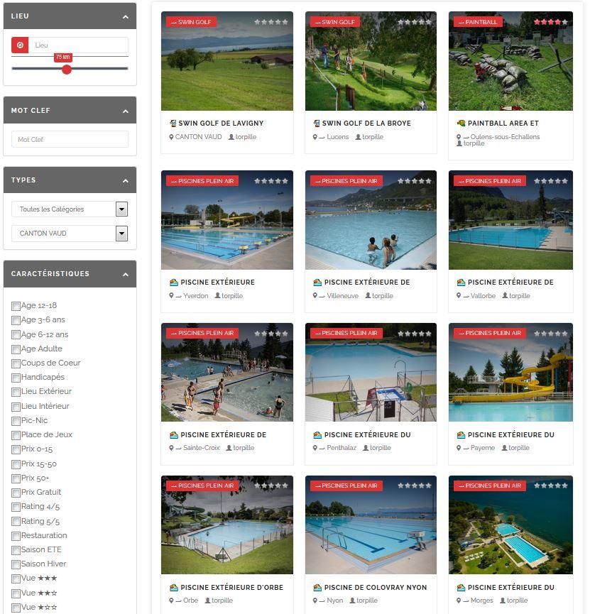 activités dans le canton du Valais sous forme de listing.