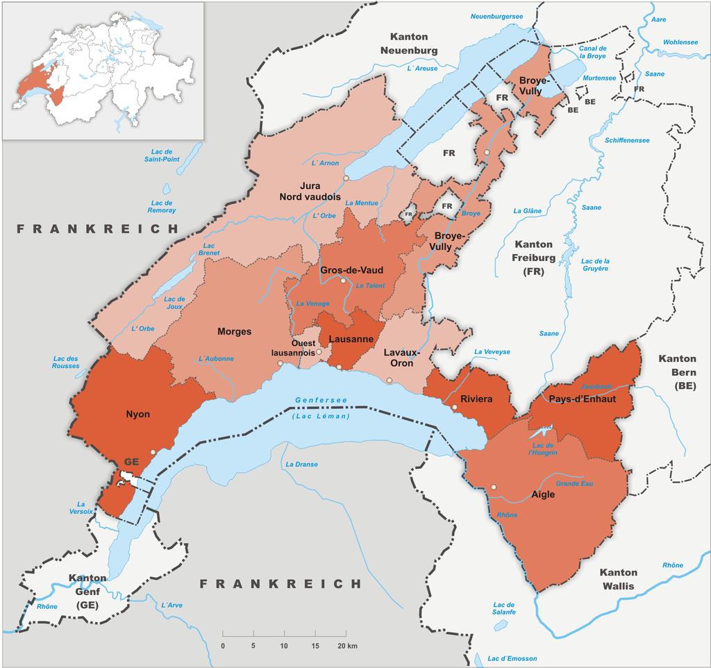 districts du canton de vaud