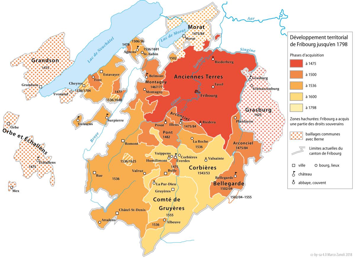 """Une carte historique du canton de Fribourg. A l'origine le canton était uniquement germanophone avec les """"Anciennes Terres""""."""