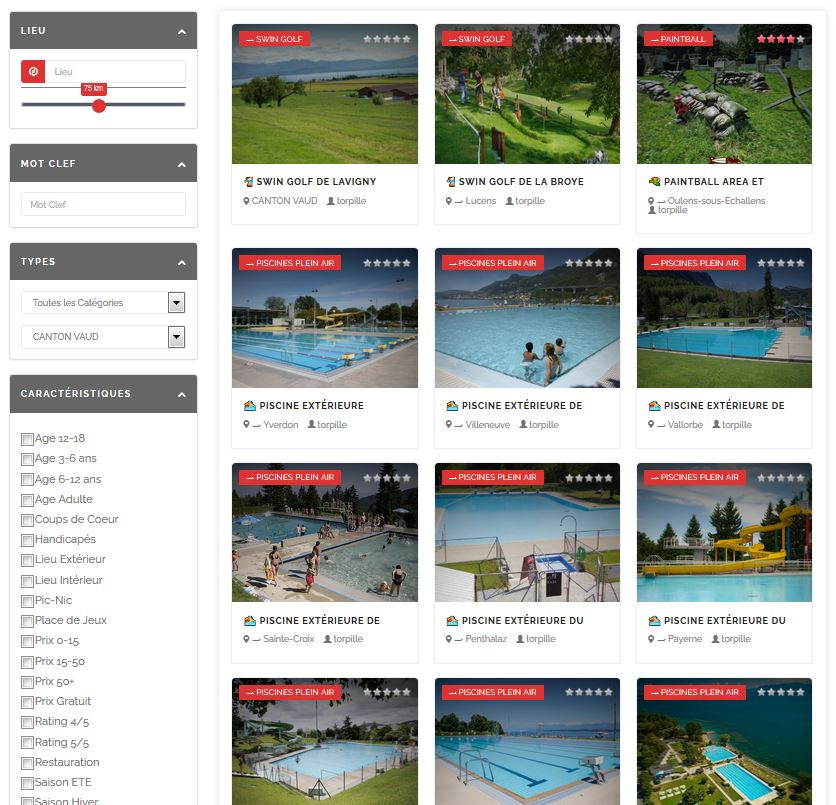 La Torpille affiche également les activités dans le canton de Vaud sous forme de listing.